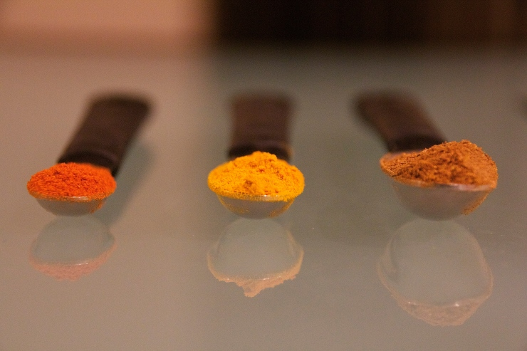 chili powder, turmeric, & garam masala